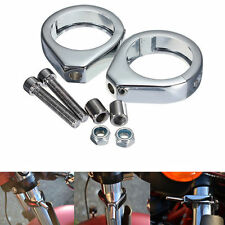 Chrome Turn Signal Clamps for Harley Softail Relocation Mount Bracket 49mm Fork