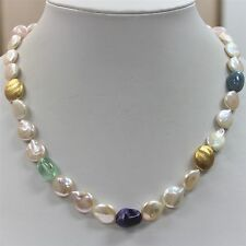 Brand New Hand Made Real Freshwater Coin Pearl & Nature Stone Necklace Delny