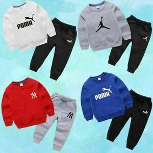 Kinder Jungen Mädchen Sport Hoodie Hosenanzug Baumwolle Mode Trainingsanzug-2PCS