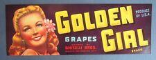 Old Vintage - GOLDEN GIRL - Grape Crate LABEL - Ghiselli Bros. San Francisco CA.
