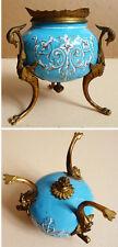 Pot vase encrier tripode en émail et bronze 19e siècle