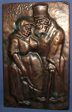 1980 Copper wall hanging plaque priest and nun