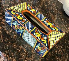 Mexico Ceramic Tissue Box Cover Holder Rectangular Handpainted