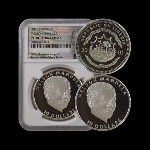 LIBERIA 10 Dollars, 2001, Silver  - NGC PF70, Top Pop🥇 Nelson Mandela