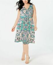 NY Collection Plus Size Belted Fit & Flare Dress Size 1X
