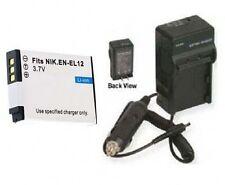 Battery + Charger for Nikon EN-EL12 ENEL12 S610 S610C S8100 S1000pj S1100pj