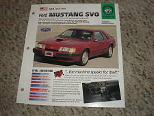 USA 1984-1986 Ford Mustang SVO Hot Cars Muscle Group 4 # 50 Spec Sheet Brochure