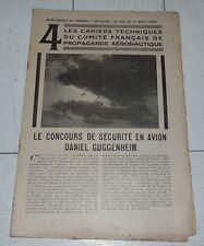 AVIATION / SUPPL. N°4 LES AILES 1928 CONCOURS DE SECURITE EN AVION D. GUGGENHEIM