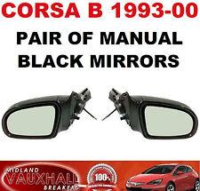 VAUXHALL CORSA B PAIR MANUAL BLACK WING DOOR MIRRORS DRIVERS AND PASSENGER SIDE
