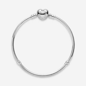 Genuine Pandora Moments Heart Clasp Charm Snake Chain Bracelet Sterling Silver e