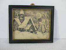 "Drawing Pen and Ink Winter Chruch Scene Signed B Shurtz Framed Vtg Small 4"" x 5"""