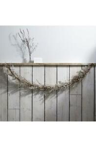 "THE WHITE COMPANY Silver Sparkle Fern Branch Garland 6 1/4"" x 71"