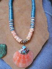 "Turquoise Onyx MOP Abalone inlay on SHELL Pendant &  Necklace 21"" Santo Domingo"