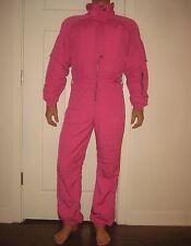 Vtg 80s NILS Pink Mens SMALL Neon One Piece SKI Snow Suit BIB Coat Snowsuit S