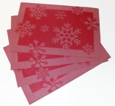 Set of 4 Large Christmas Placemats Dinning Room Jacquard Table Mat Red Snowflake