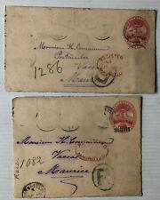 2 Ganzsachen - Seychelles auf Mauritius 1900 / 1901  - einmal Überdruck - Rar