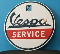 VINTAGE VESPA MOTOR SCOOTER SERVICE PORCELAIN GASOLINE OIL DEALER SIGN