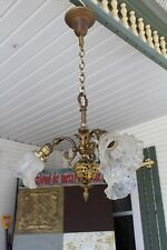 ANTIQUE FIGURAL 3 ARMS HANGING CHANDELIER CEILING LIGHT FIXTURE LAMP WITH SHADE