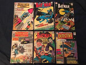 BATMAN & DETECTIVE COMICS lot of 6 Comics #186,204,219 (Neal Adams),317,321,344