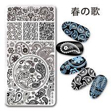 Placa de plantilla de sello de Arte en Uñas Diseño Paisley Pañuelo harunouta L020