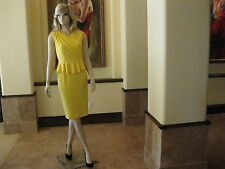 NWT Chic Yellow Peplum Ruched Cross Front V-Neck Sleeveless Ponte Dress,  M.