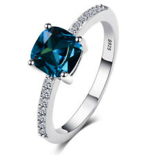 Fashion Women Peacock Blue Topaz 925 Silver Jewelry Wedding Ring Size 7