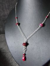 925 STERLING SILVER NECKLACE carved natural RUBY precious gemstone