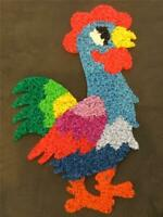 Vintage Melted Plastic Popcorn Chips RARE Rooster Multi Colored Wall Door Decor