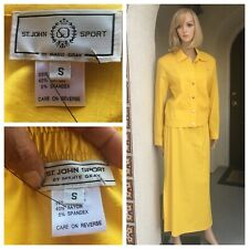 St John Sport By Marie Gray Yellow Suit Jacket And Skirt Size S
