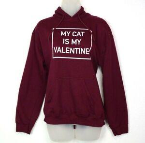 Gildan Sweatshirt Hoodie My Cat is my Valentine Size Small Maroon Long Sleeve