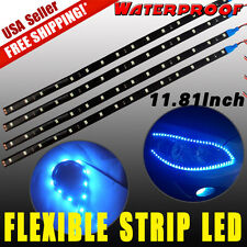 4pcs Ice Blue Flexible Strip 30cm 15 LED Car Motorcycle Lights Waterproof 12V US