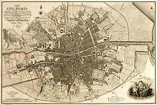 1797 Map City Plan Dublin Ireland Irish History Wall Art Poster Print Vintage