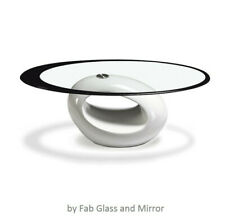 Fab Glass and Mirror Stylish Coffee Table, Oval, White BASE ONLY - NO GLASS TOP