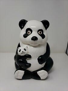 Vintage METLOX Panda Mom and Baby Cera Panda Bear, Ceramic Cookie Jar  RARE! USA