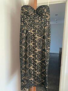 Elle Zeitoune Lace Cocktail Midi Women's Dress - Black Lace, Size 14