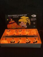 Vintage Halloween String Lights Pumpkin Jack o Lantern 10 Blow Mold in Box