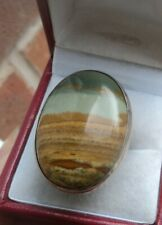 LARGE Attractive Sterling Silver & Ocean Wave Agate Ring h/m 1981 -  size M / N