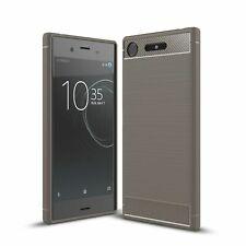 Sony Xperia XZ1 Étui de Portable TPU Fibre Carbone Motif Protection Gris Neuf