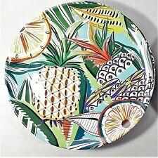"4 Cynthia Rowley Melamine 11"" Pineapple / Tropical Fruit - 4 Dinner Plates NEW"
