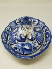 Gzhel Rare Covered Russian Dish - Flute Player and Bird Lid - Delft  - Signed