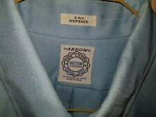 Vintage Men'S Arrow Cum Laude Decton Tapered Hopsack Blue Shirt Cotton Blend