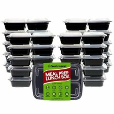 Freshware Meal Prep Containers 21 Pack 3 Compartment With Lids, Food Storage Box