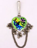 HANDMADE OLD SILVER WAIST KEY CHAIN BELLY DANCE PEACOCK ENAMEL INDIAN CHHALLA