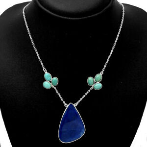 Lapis & Natural Rare Turquoise Nevada Aztec Mt 925 Silver Necklace Jewelry E084