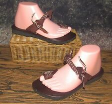 Bohemian BOHO Twisted Brown Leather Toe Ring Sandals Size 7-7.5 Very Unique