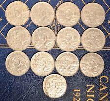 King George V Nickel set - 13 different dates 1922-1936 no 25 or 26