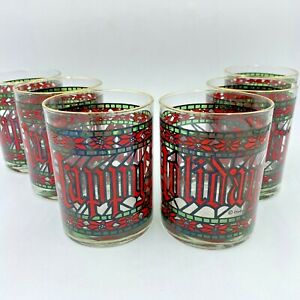 Vintage Houze Christmas Glasses Set 6 Happy Holidays Stained Glass Gold Rim GS