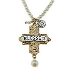 """Hammered Gold Toned """"Blessed"""" Cross Charm 15"""" Adjustable Pearl Beaded Necklace W"""