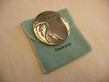 Vintage Tiffany & Co. Leaf Motif Silver Plate Compact Hand Purse Makeup Mirror