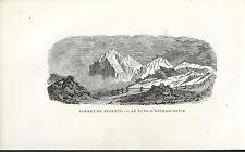 Stampa antica VALTELLINA PASSO dello STELVIO ORTLER Sondrio 1885 Old print